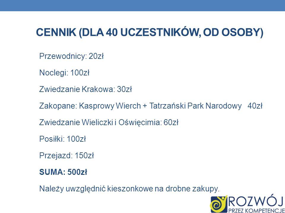 CENNIK (DLA 40 UCZESTNIKÓW, OD OSOBY) Przewodnicy: 20zł Noclegi: 100zł Zwiedzanie Krakowa: 30zł Zakopane: Kasprowy Wierch + Tatrzański Park Narodowy 4