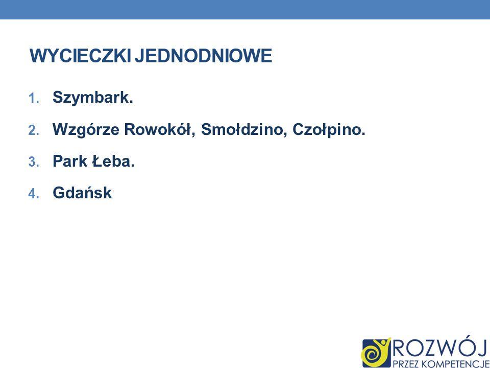 WYCIECZKI JEDNODNIOWE 1. Szymbark. 2. Wzgórze Rowokół, Smołdzino, Czołpino. 3. Park Łeba. 4. Gdańsk