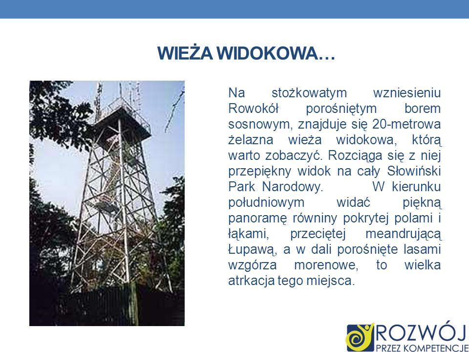 WIEŻA WIDOKOWA… Na stożkowatym wzniesieniu Rowokół porośniętym borem sosnowym, znajduje się 20-metrowa żelazna wieża widokowa, którą warto zobaczyć. R