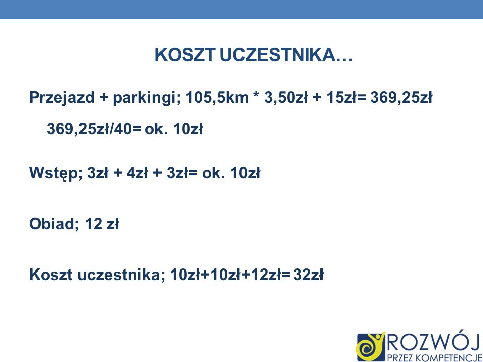 KOSZT UCZESTNIKA… Przejazd + parkingi; 105,5km * 3,50zł + 15zł= 369,25zł 369,25zł/40= ok. 10zł Wstęp; 3zł + 4zł + 3zł= ok. 10zł Obiad; 12 zł Koszt ucz