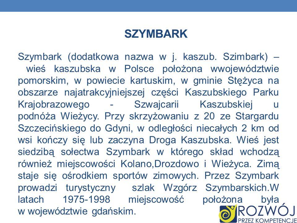 SZYMBARK Szymbark (dodatkowa nazwa w j. kaszub. Szimbark) – wieś kaszubska w Polsce położona wwojewództwie pomorskim, w powiecie kartuskim, w gminie S