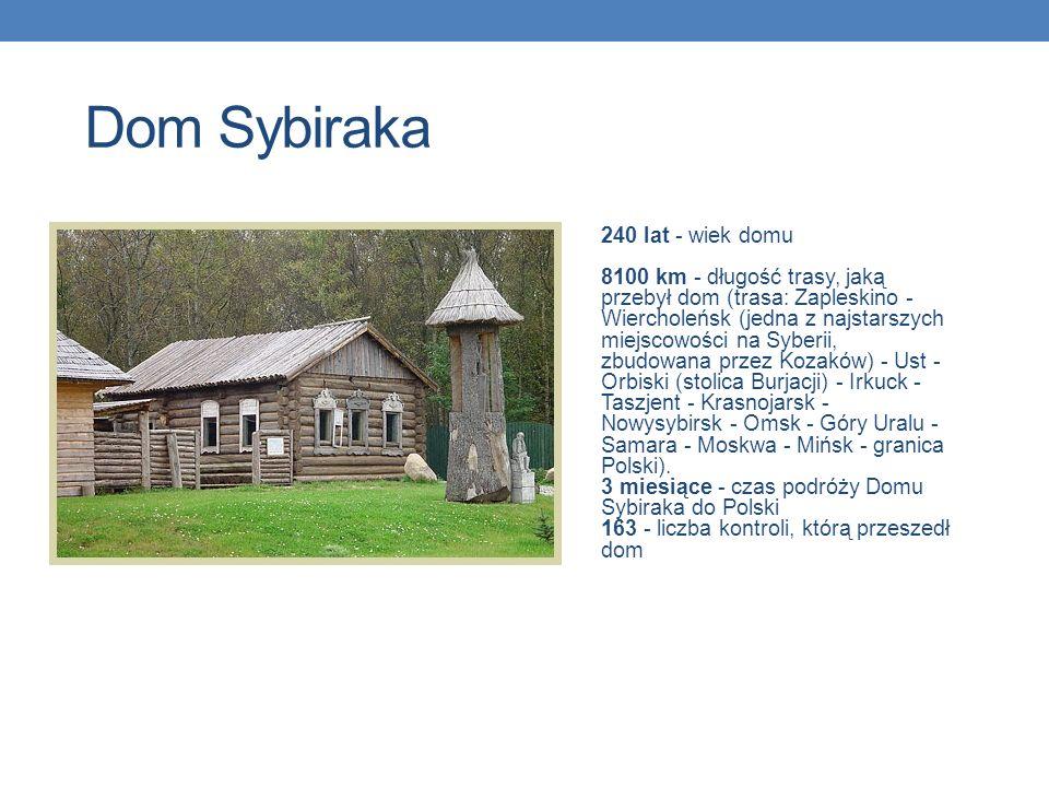 Dom Sybiraka 240 lat - wiek domu 8100 km - długość trasy, jaką przebył dom (trasa: Zapleskino - Wiercholeńsk (jedna z najstarszych miejscowości na Syb