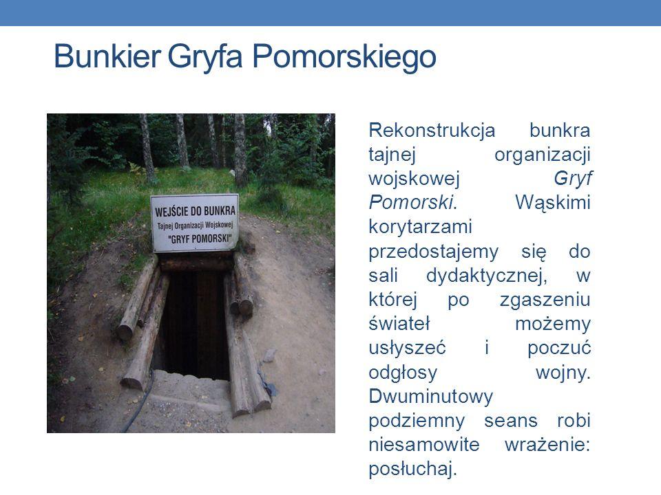Bunkier Gryfa Pomorskiego Rekonstrukcja bunkra tajnej organizacji wojskowej Gryf Pomorski. Wąskimi korytarzami przedostajemy się do sali dydaktycznej,