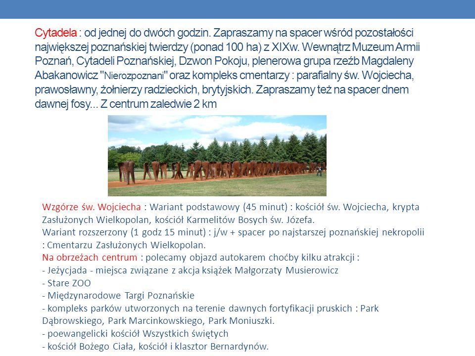 Cytadela : od jednej do dwóch godzin. Zapraszamy na spacer wśród pozostałości największej poznańskiej twierdzy (ponad 100 ha) z XIXw. Wewnątrz Muzeum