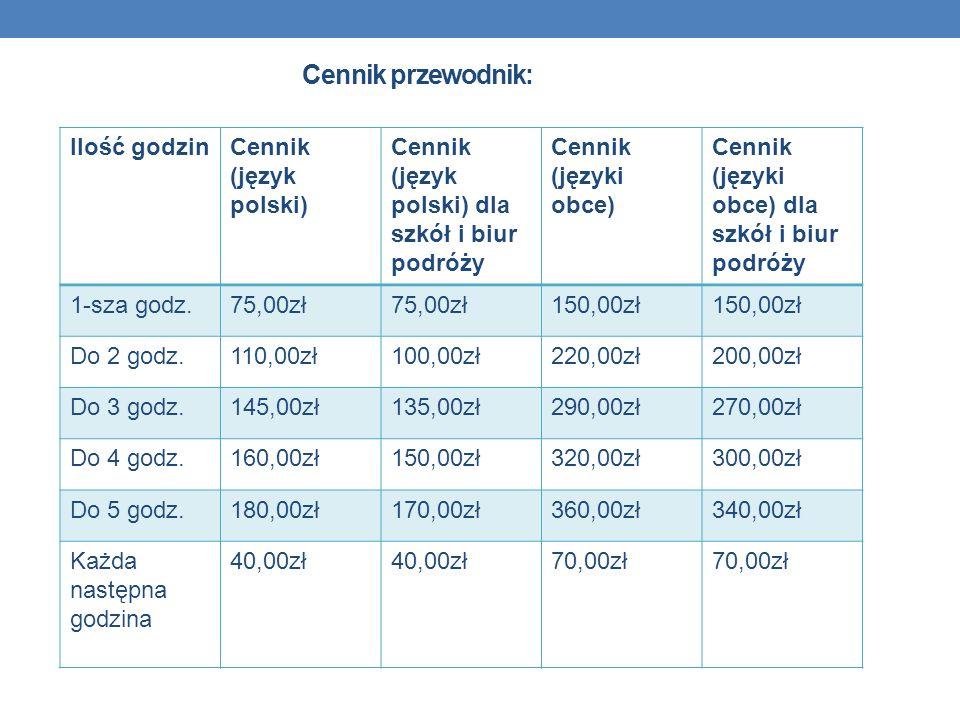 Cennik przewodnik: Ilość godzinCennik (język polski) Cennik (język polski) dla szkół i biur podróży Cennik (języki obce) Cennik (języki obce) dla szkó