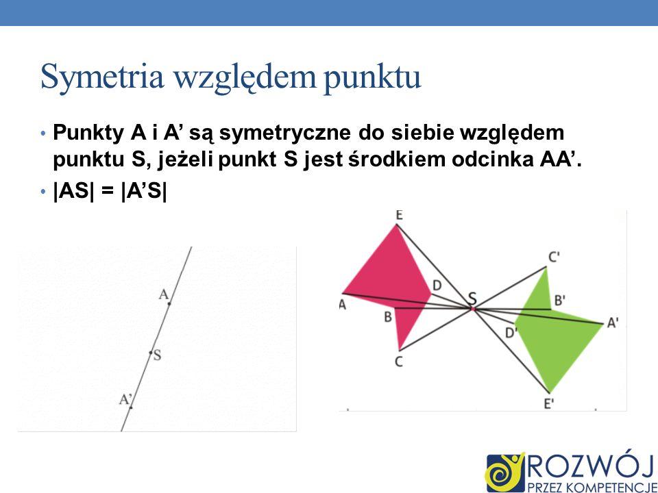 Symetria względem punktu Punkty A i A są symetryczne do siebie względem punktu S, jeżeli punkt S jest środkiem odcinka AA. |AS| = |AS|