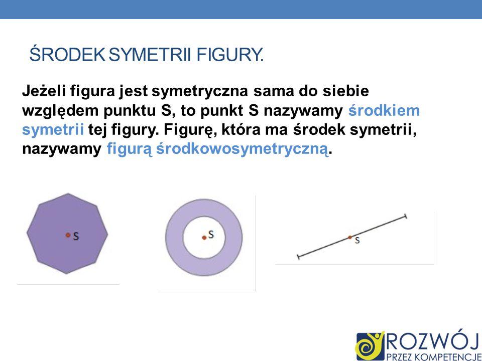 ŚRODEK SYMETRII FIGURY. Jeżeli figura jest symetryczna sama do siebie względem punktu S, to punkt S nazywamy środkiem symetrii tej figury. Figurę, któ