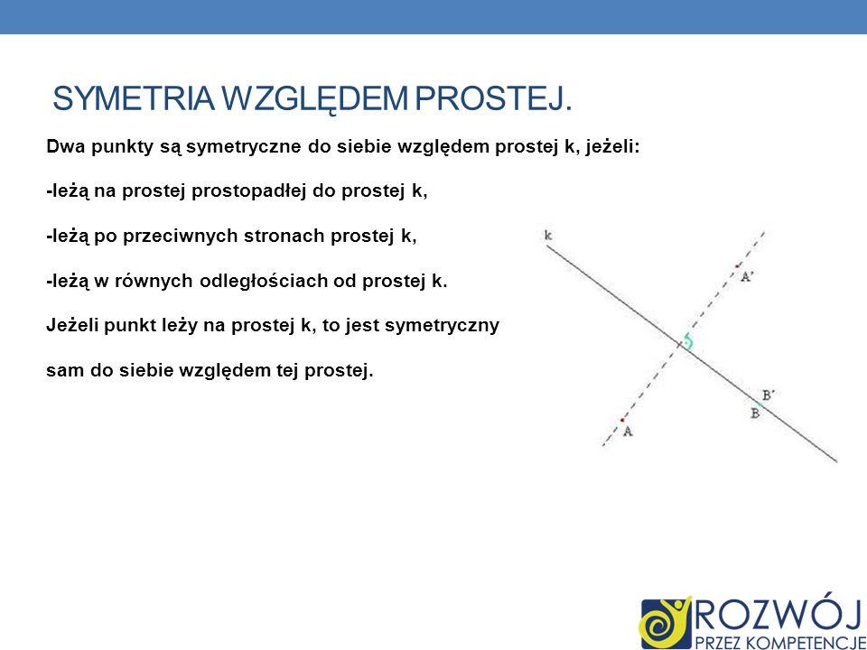 SYMETRIA WZGLĘDEM PROSTEJ. Dwa punkty są symetryczne do siebie względem prostej k, jeżeli: -leżą na prostej prostopadłej do prostej k, -leżą po przeci