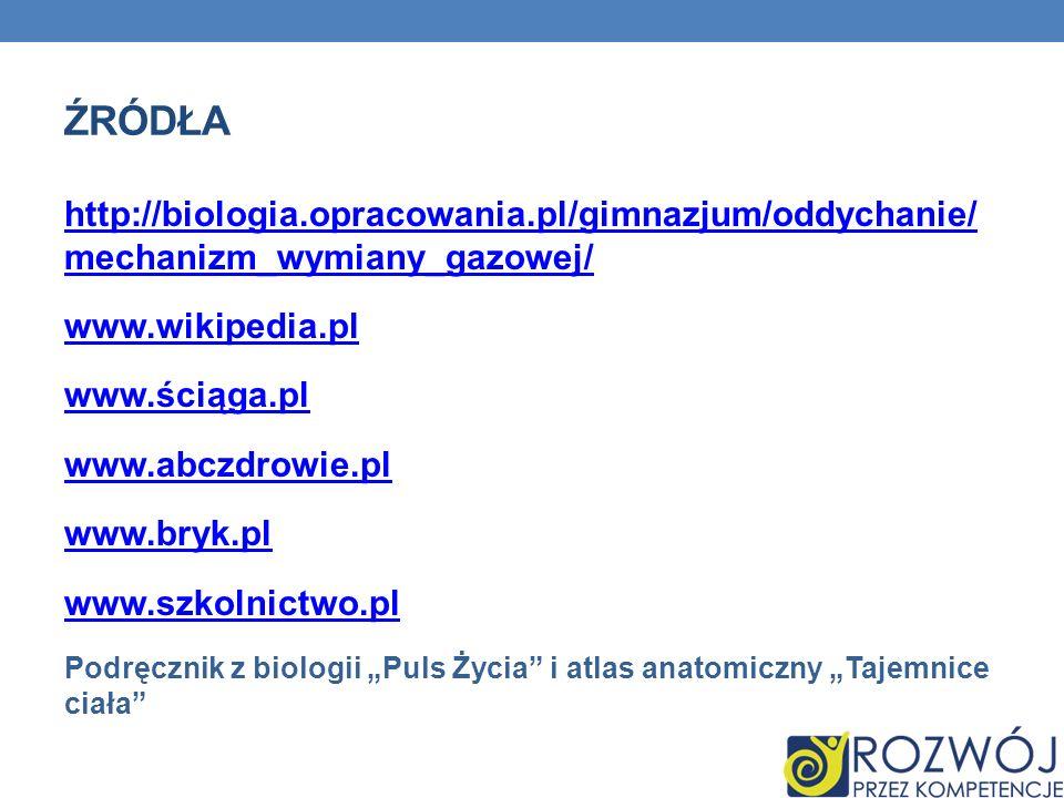 ŹRÓDŁA http://biologia.opracowania.pl/gimnazjum/oddychanie/ mechanizm_wymiany_gazowej/ www.wikipedia.pl www.ściąga.pl www.abczdrowie.pl www.bryk.pl ww