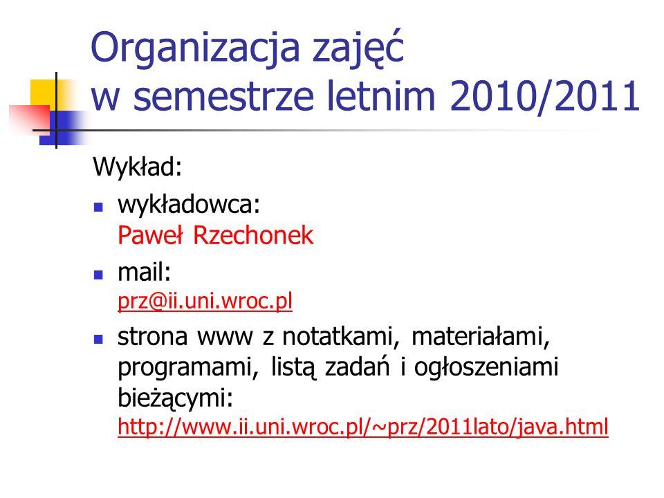 Organizacja zajęć w semestrze letnim 2010/2011 Wykład: wykładowca: Paweł Rzechonek mail: prz@ii.uni.wroc.pl prz@ii.uni.wroc.pl strona www z notatkami,