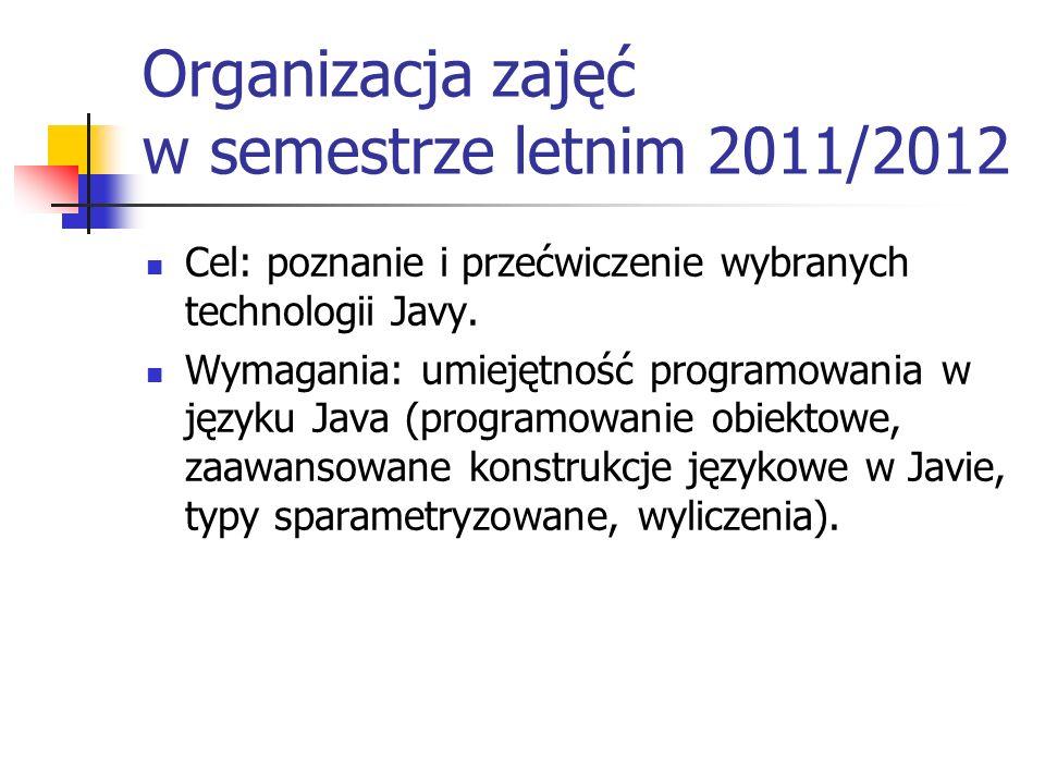 Organizacja zajęć w semestrze letnim 2011/2012 Cel: poznanie i przećwiczenie wybranych technologii Javy. Wymagania: umiejętność programowania w języku