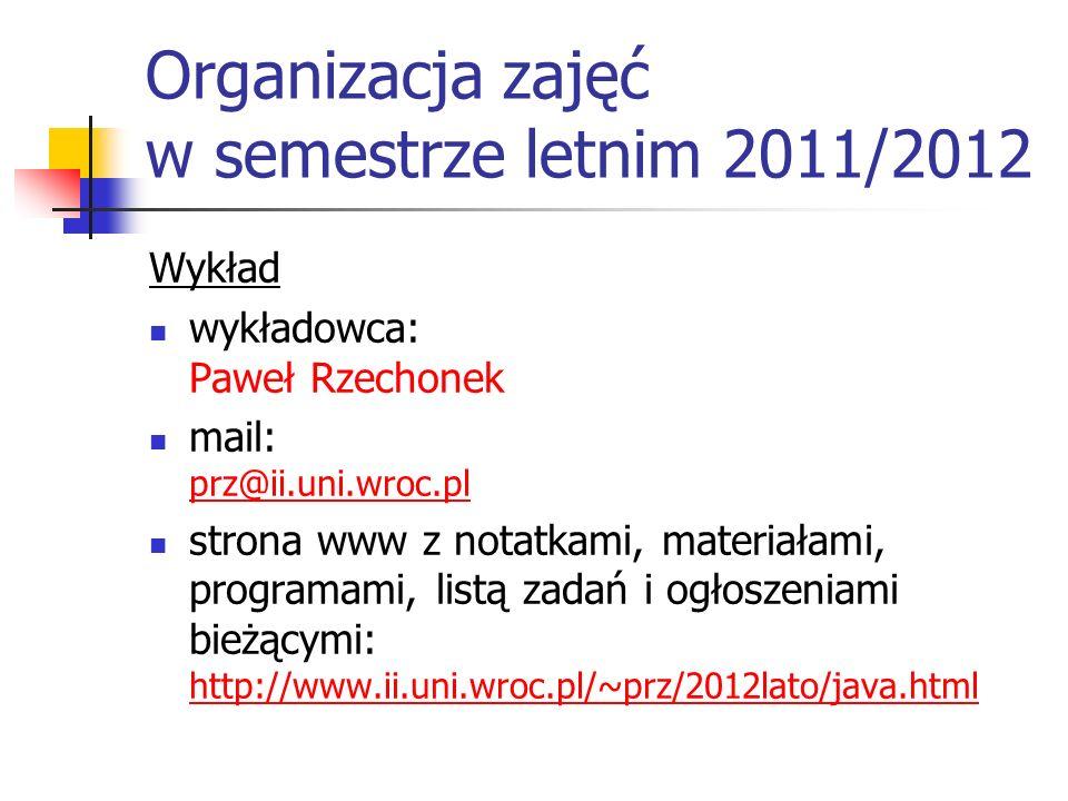 Organizacja zajęć w semestrze letnim 2011/2012 Wykład wykładowca: Paweł Rzechonek mail: prz@ii.uni.wroc.pl prz@ii.uni.wroc.pl strona www z notatkami,