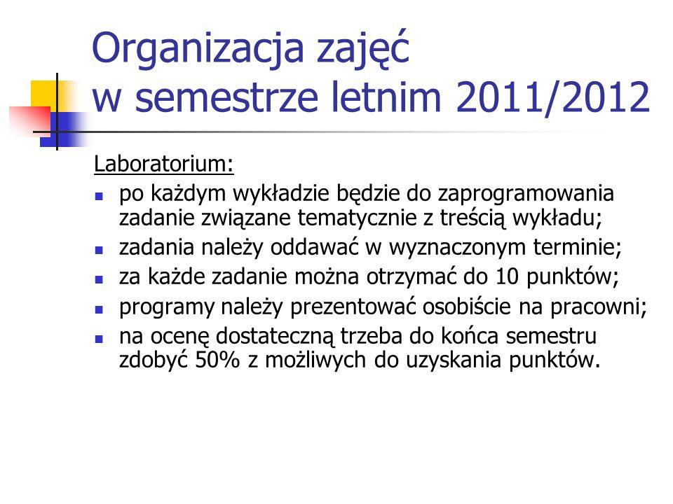 Organizacja zajęć w semestrze letnim 2011/2012 Laboratorium: po każdym wykładzie będzie do zaprogramowania zadanie związane tematycznie z treścią wykł