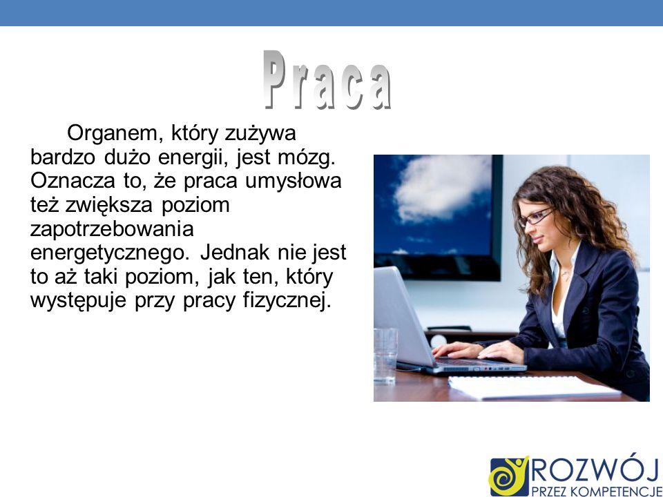 Organem, który zużywa bardzo dużo energii, jest mózg.