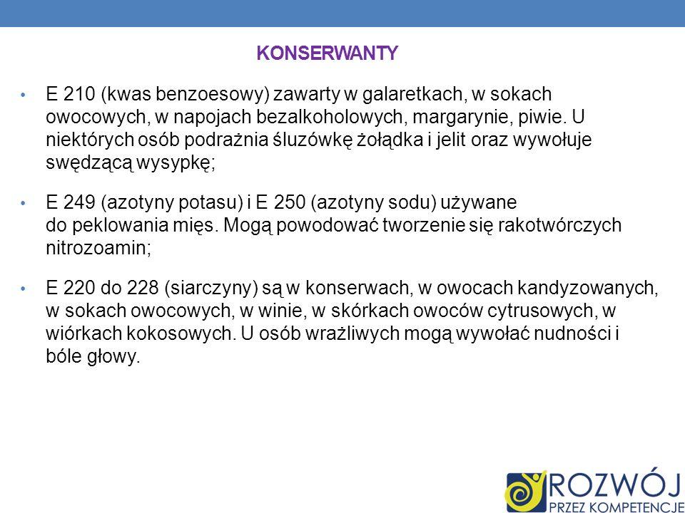 KONSERWANTY E 210 (kwas benzoesowy) zawarty w galaretkach, w sokach owocowych, w napojach bezalkoholowych, margarynie, piwie.