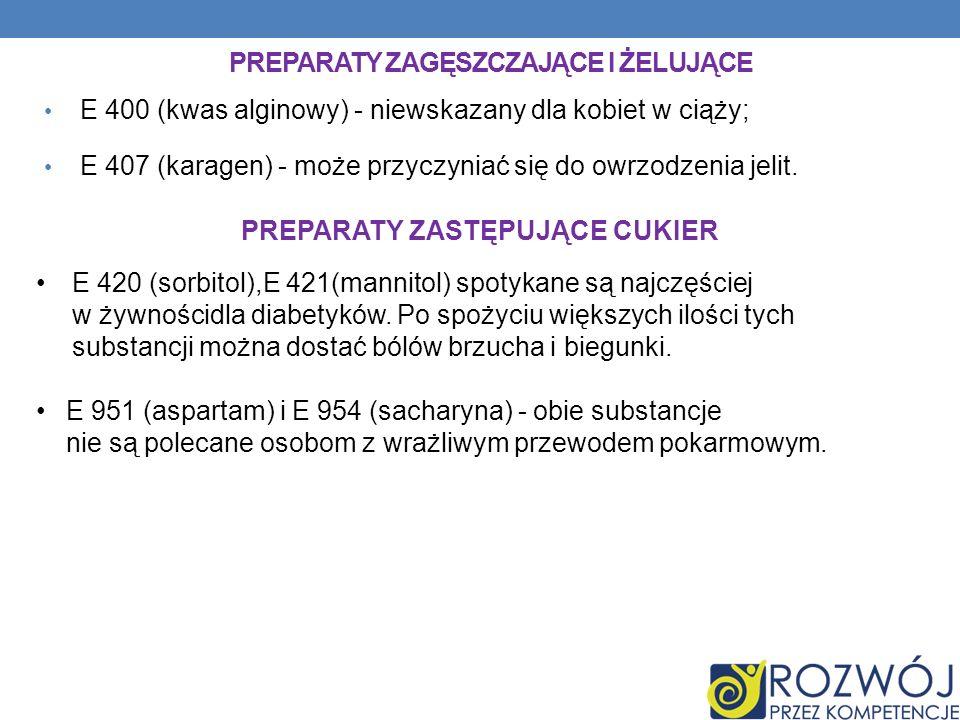 PREPARATY ZAGĘSZCZAJĄCE I ŻELUJĄCE E 400 (kwas alginowy) - niewskazany dla kobiet w ciąży; E 407 (karagen) - może przyczyniać się do owrzodzenia jelit.