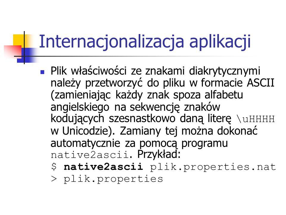 Internacjonalizacja aplikacji Plik właściwości ze znakami diakrytycznymi należy przetworzyć do pliku w formacie ASCII (zamieniając każdy znak spoza alfabetu angielskiego na sekwencję znaków kodujących szesnastkowo daną literę \uHHHH w Unicodzie).