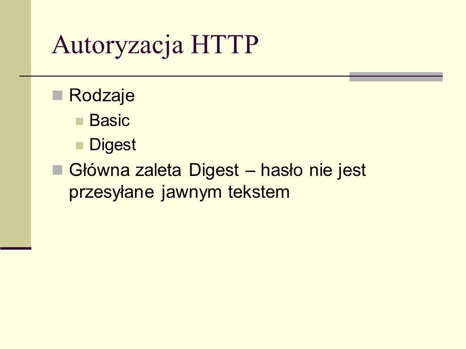Autoryzacja HTTP Rodzaje Basic Digest Główna zaleta Digest – hasło nie jest przesyłane jawnym tekstem