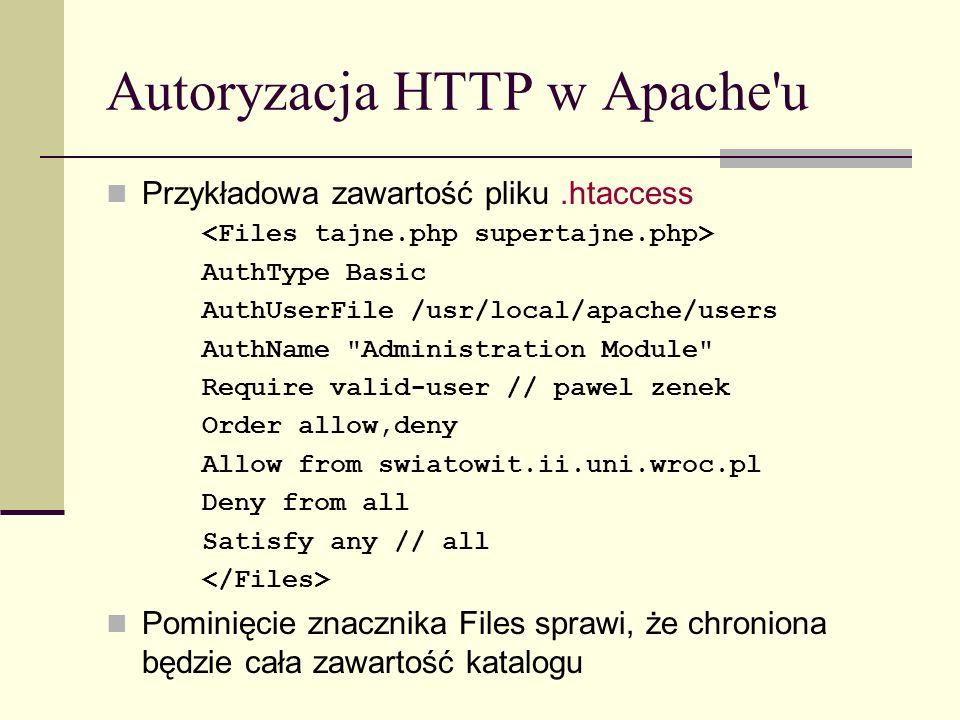 Autoryzacja HTTP w Apache'u Przykładowa zawartość pliku.htaccess AuthType Basic AuthUserFile /usr/local/apache/users AuthName