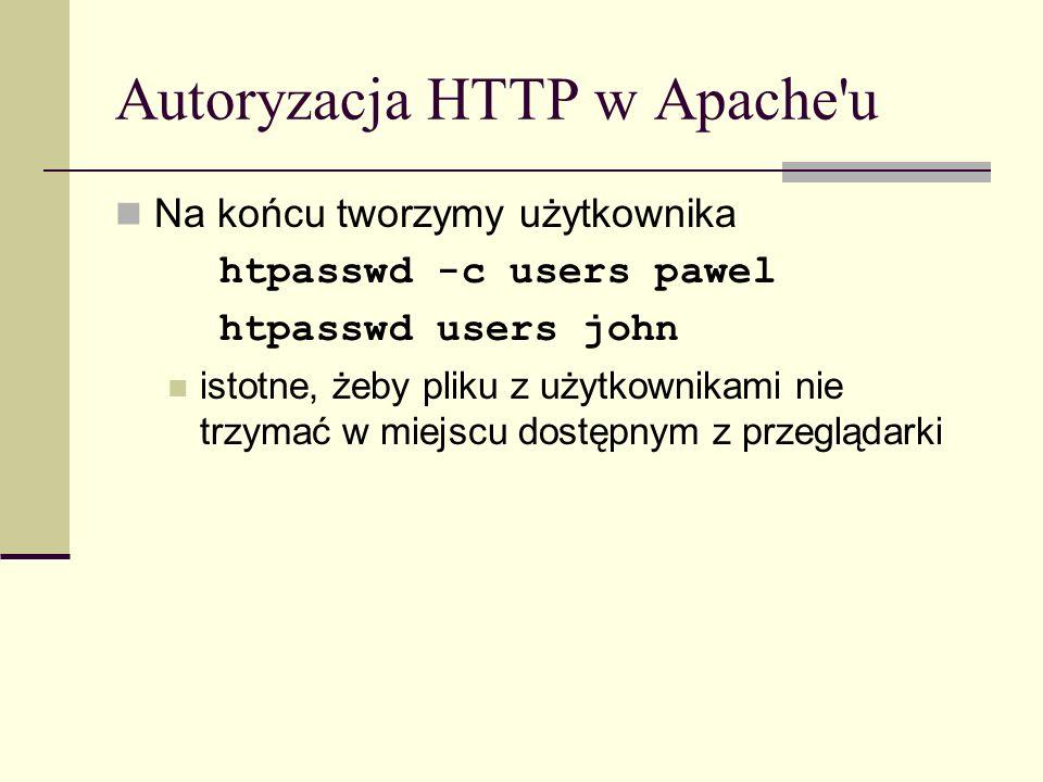 Autoryzacja HTTP w Apache'u Na końcu tworzymy użytkownika htpasswd -c users pawel htpasswd users john istotne, żeby pliku z użytkownikami nie trzymać