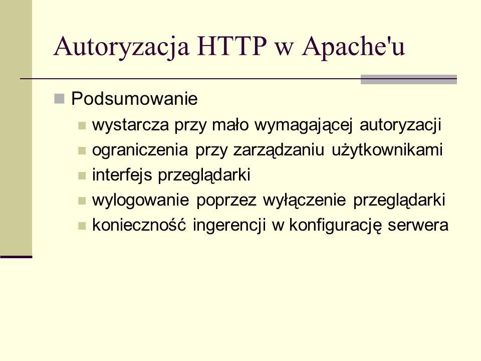 Autoryzacja HTTP w Apache'u Podsumowanie wystarcza przy mało wymagającej autoryzacji ograniczenia przy zarządzaniu użytkownikami interfejs przeglądark