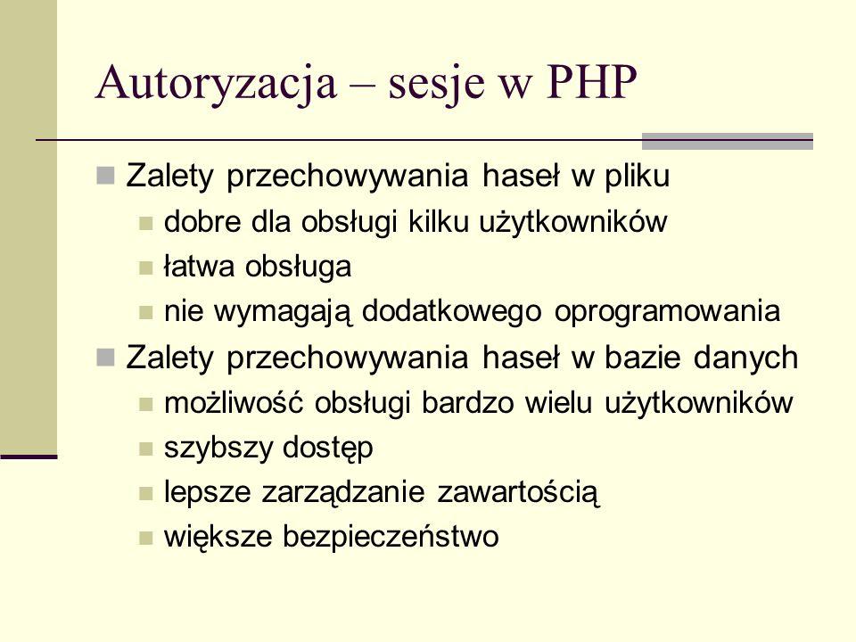 Autoryzacja – sesje w PHP Zalety przechowywania haseł w pliku dobre dla obsługi kilku użytkowników łatwa obsługa nie wymagają dodatkowego oprogramowan