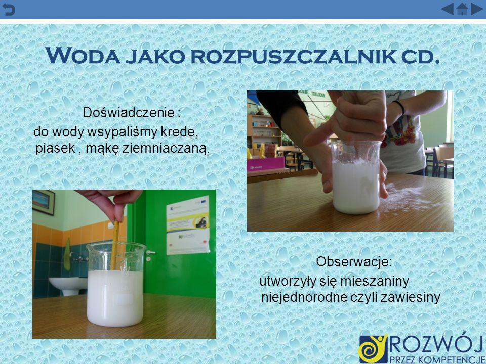 Woda jako rozpuszczalnik – c.d.Doświadczenie: wodę łączymy z mydłem, wbijamy białko jaja.