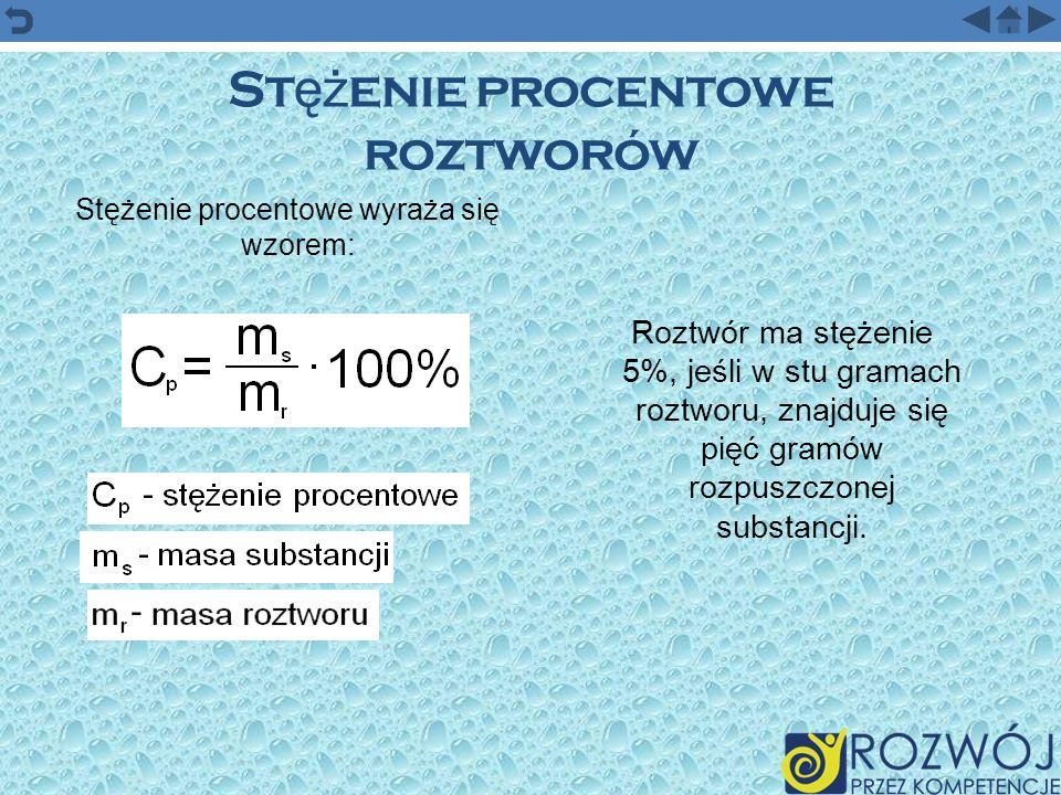 St ęż enie procentowe roztworów Stężenie procentowe wyraża się wzorem: Roztwór ma stężenie 5%, jeśli w stu gramach roztworu, znajduje się pięć gramów