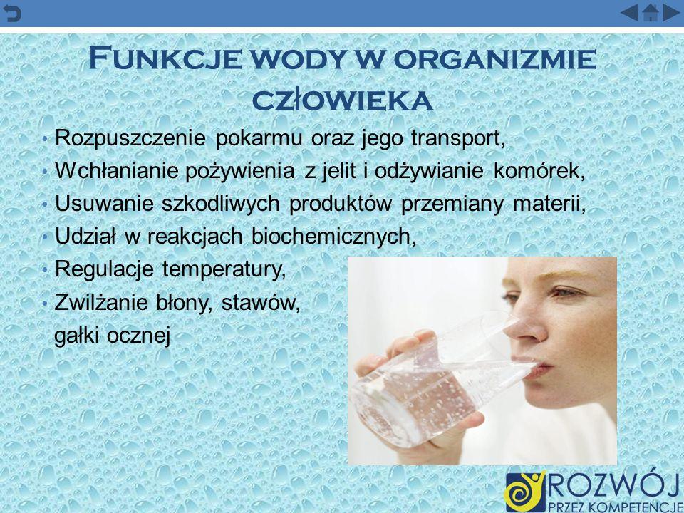 Funkcje wody w organizmie cz ł owieka Rozpuszczenie pokarmu oraz jego transport, Wchłanianie pożywienia z jelit i odżywianie komórek, Usuwanie szkodli
