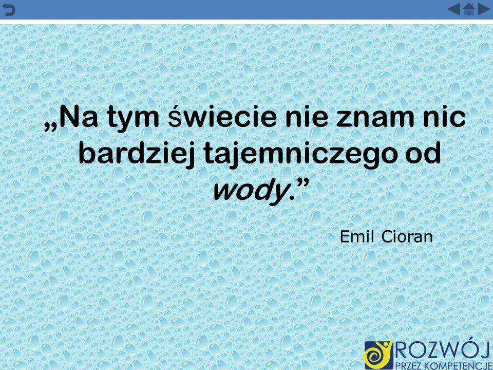 Na tym ś wiecie nie znam nic bardziej tajemniczego od wody. Emil Cioran