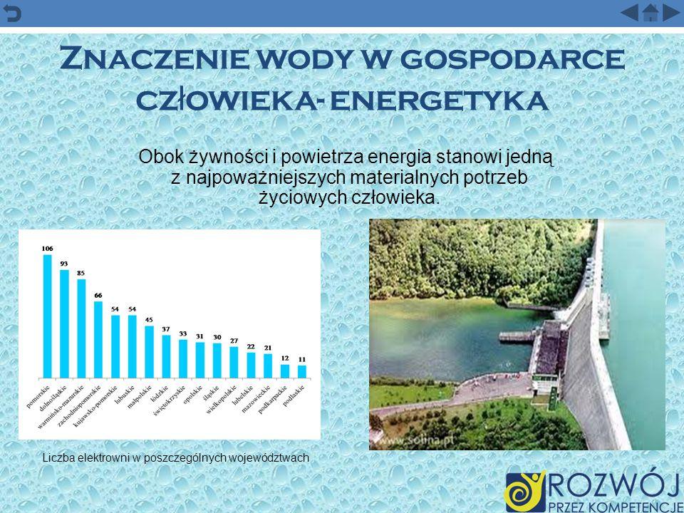 Znaczenie wody w gospodarce cz ł owieka- energetyka Obok żywności i powietrza energia stanowi jedną z najpoważniejszych materialnych potrzeb życiowych