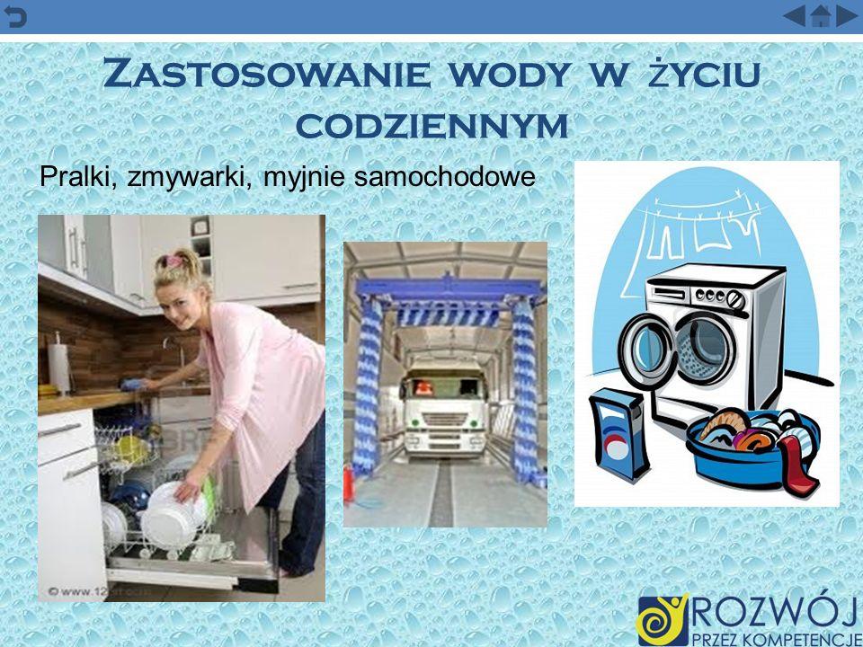 Zastosowanie wody w ż yciu codziennym Pralki, zmywarki, myjnie samochodowe