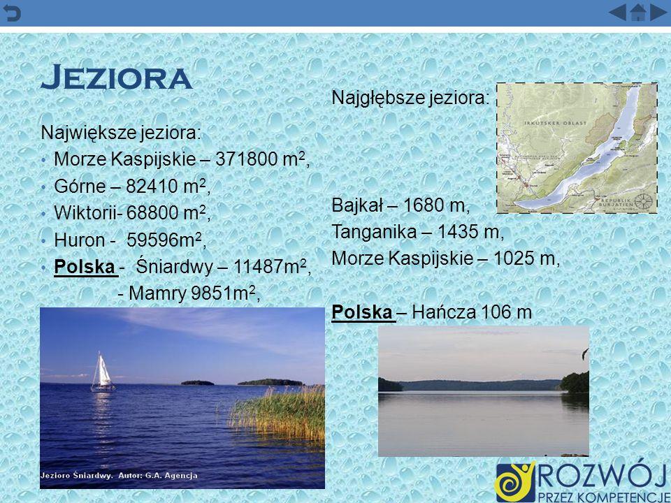 Jeziora Największe jeziora: Morze Kaspijskie – 371800 m 2, Górne – 82410 m 2, Wiktorii- 68800 m 2, Huron - 59596m 2, Polska - Śniardwy – 11487m 2, - M