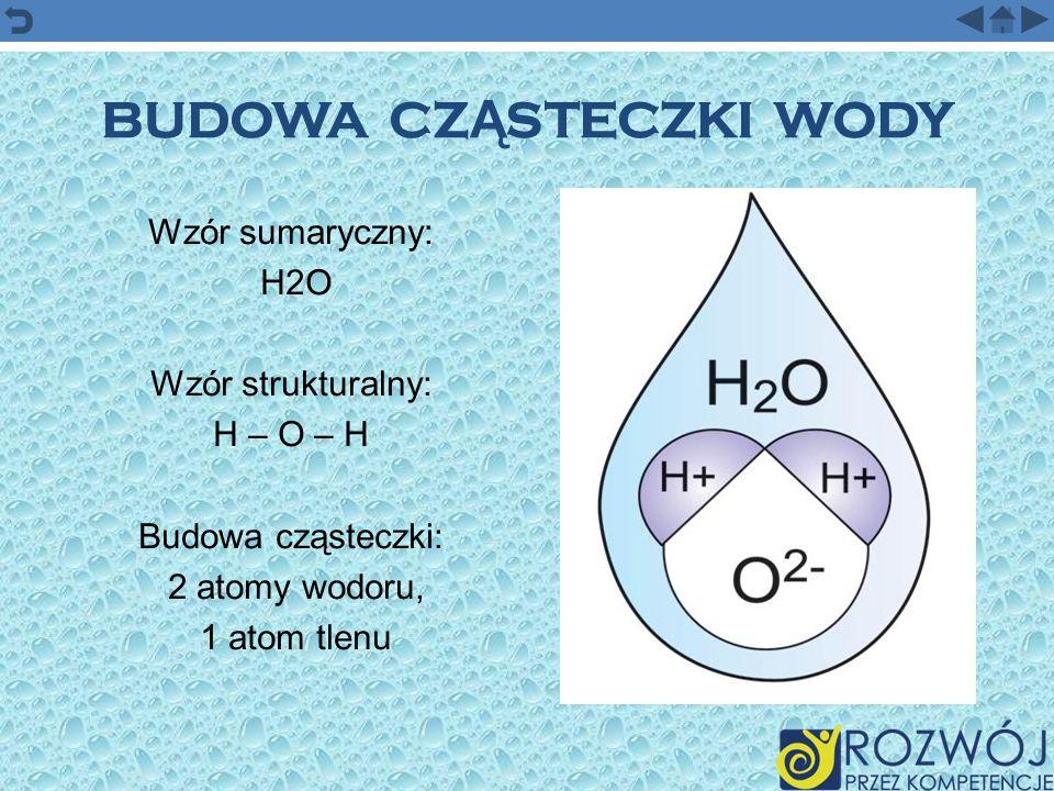 BUDOWA CZ Ą STECZKI WODY Wzór sumaryczny: H2O Wzór strukturalny: H – O – H Budowa cząsteczki: 2 atomy wodoru, 1 atom tlenu