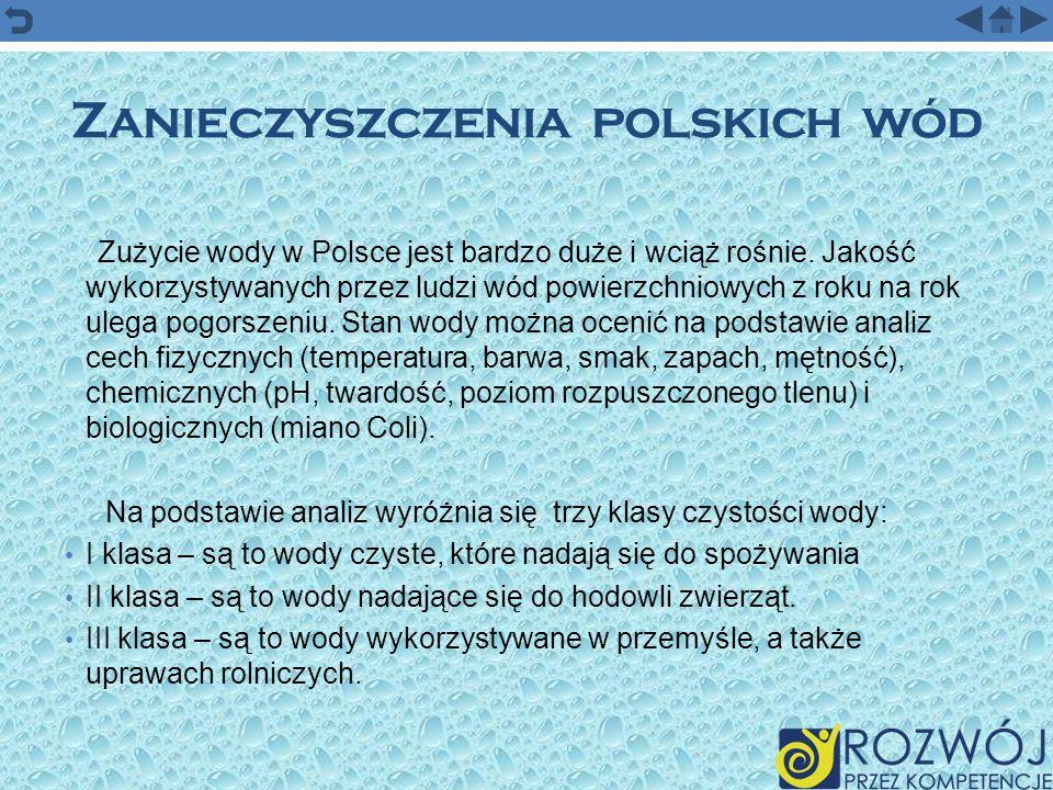 Zanieczyszczenia polskich wód Zużycie wody w Polsce jest bardzo duże i wciąż rośnie. Jakość wykorzystywanych przez ludzi wód powierzchniowych z roku n