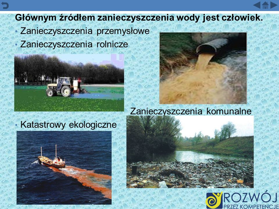 Głównym źródłem zanieczyszczenia wody jest człowiek. Zanieczyszczenia przemysłowe Zanieczyszczenia rolnicze Zanieczyszczenia komunalne Katastrowy ekol
