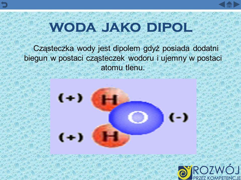 WODA JAKO DIPOL Cząsteczka wody jest dipolem gdyż posiada dodatni biegun w postaci cząsteczek wodoru i ujemny w postaci atomu tlenu.