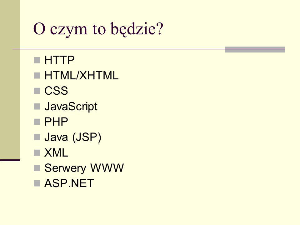Literatura Dokumenty RFC http://www.ietf.org/rfc/ http://rfc.sunsite.dk/ W3 Konsorcjum http://www.w3.org/ HTTP RFC2616, RFC2817 – protokół HTTP 1.1 RFC1738, RFC2396 – URL, URI
