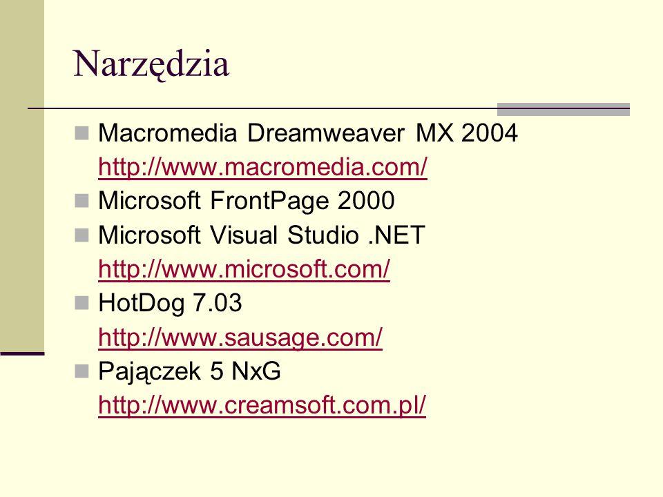 HTML Nagłówek, LINK, atrybuty: charset – kodowanie wskazywanego zasobu href – adres zasobu type – typ zawartości rel – typ dokumentu wskazywanego rev – typ dokumentu, z którego jest odwołanie do bieżącego dokumentu