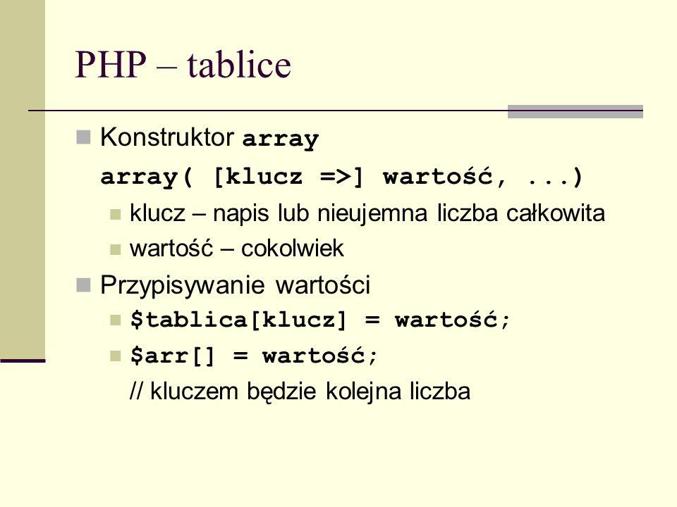 PHP – tablice Konstruktor array array( [klucz =>] wartość,...) klucz – napis lub nieujemna liczba całkowita wartość – cokolwiek Przypisywanie wartości