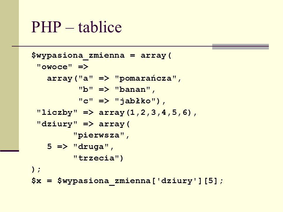PHP – tablice $wypasiona_zmienna = array(