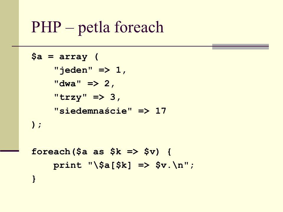 PHP – petla foreach $a = array (