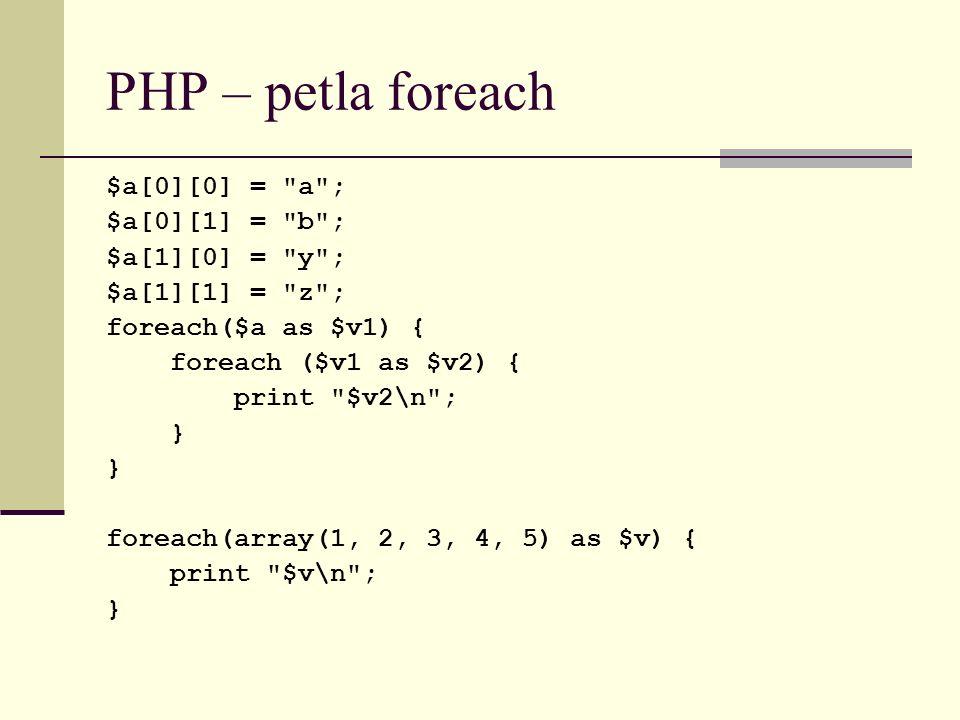 PHP – petla foreach $a[0][0] =