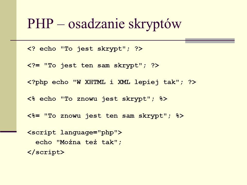 PHP – osadzanie skryptów echo