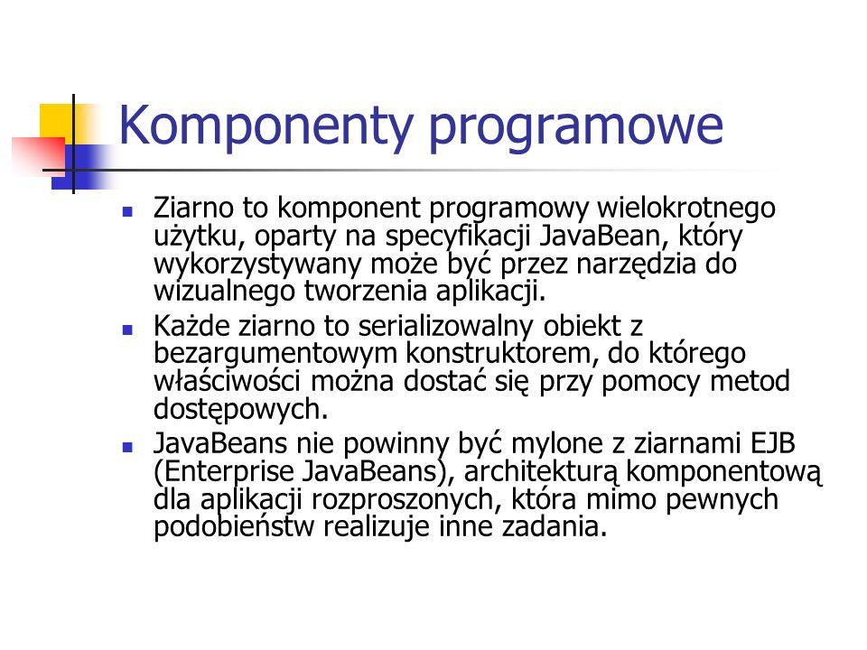 Komponenty programowe Ziarno to komponent programowy wielokrotnego użytku, oparty na specyfikacji JavaBean, który wykorzystywany może być przez narzędzia do wizualnego tworzenia aplikacji.