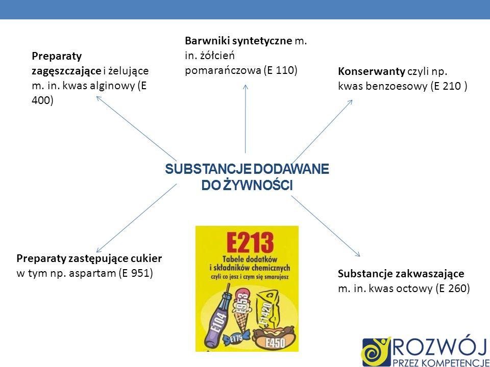 SUBSTANCJE DODAWANE DO ŻYWNOŚCI Konserwanty czyli np. kwas benzoesowy (E 210 ) Substancje zakwaszające m. in. kwas octowy (E 260) Barwniki syntetyczne