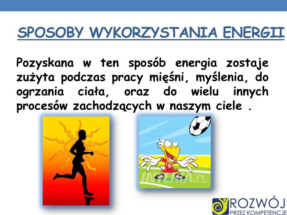 SPOSOBY WYKORZYSTANIA ENERGII Pozyskana w ten sposób energia zostaje zużyta podczas pracy mięśni, myślenia, do ogrzania ciała, oraz do wielu innych pr