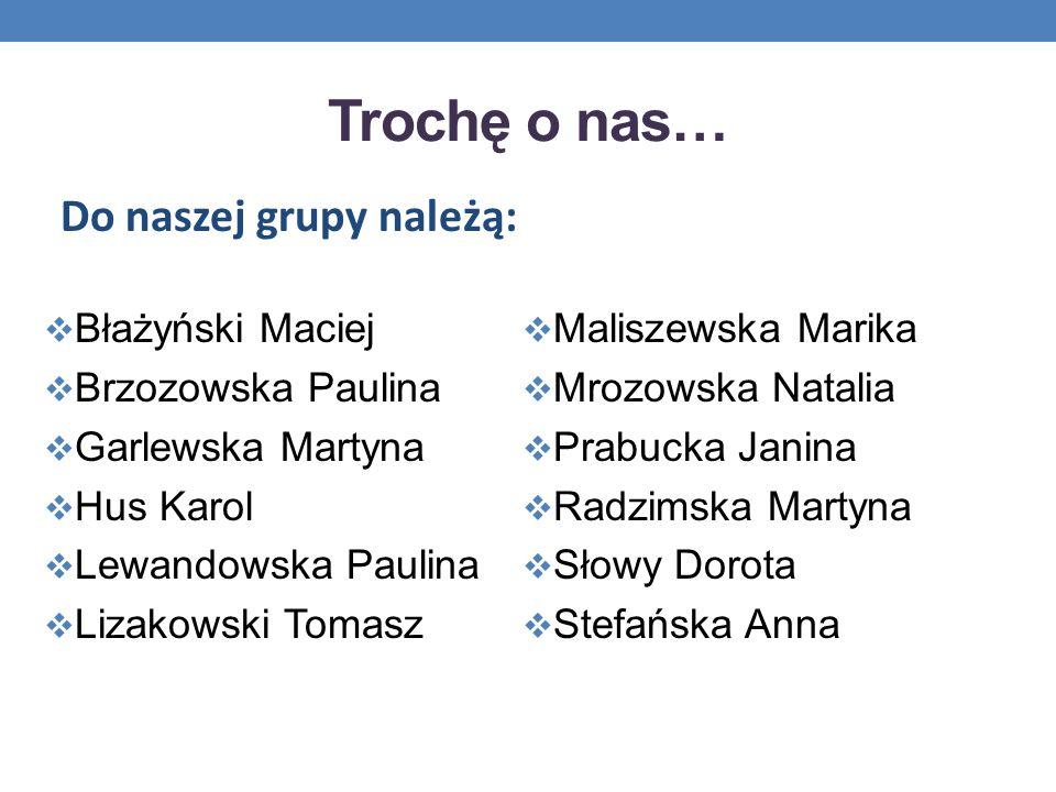 Trochę o nas… Błażyński Maciej Brzozowska Paulina Garlewska Martyna Hus Karol Lewandowska Paulina Lizakowski Tomasz Maliszewska Marika Mrozowska Natal