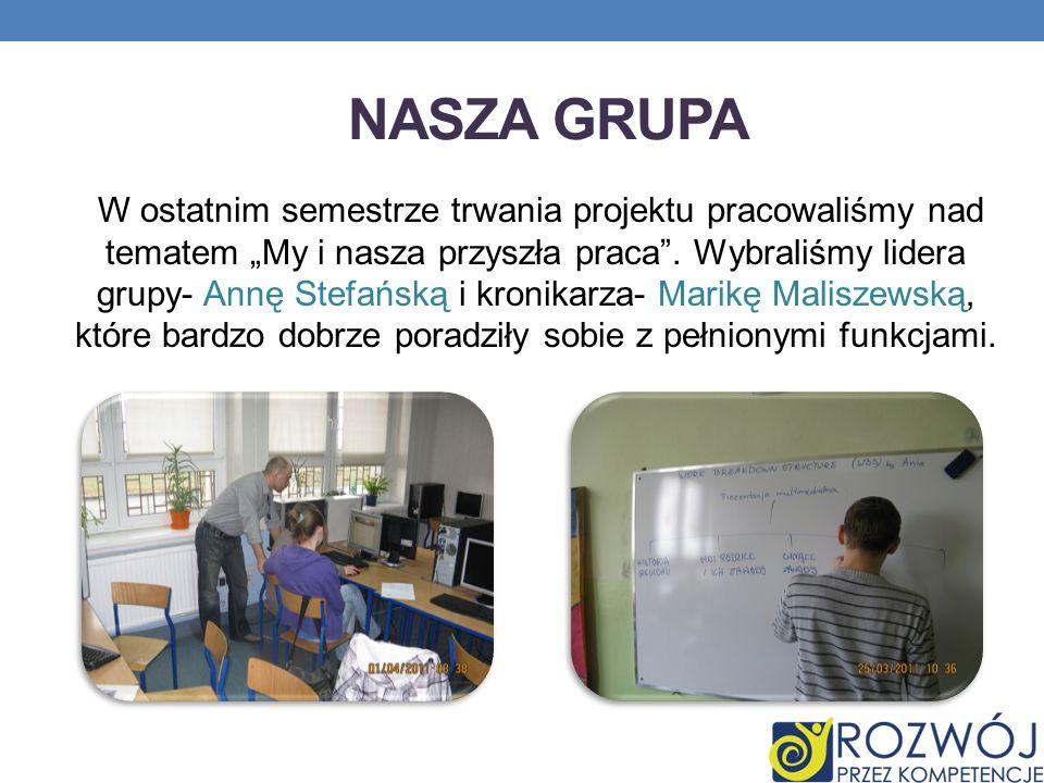 NASZA GRUPA W ostatnim semestrze trwania projektu pracowaliśmy nad tematem My i nasza przyszła praca. Wybraliśmy lidera grupy- Annę Stefańską i kronik