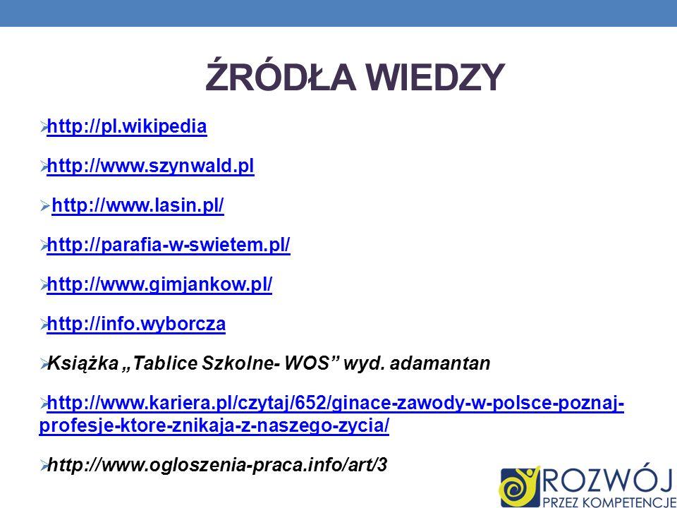 ŹRÓDŁA WIEDZY http://pl.wikipedia http://www.szynwald.pl http://www.lasin.pl/ http://parafia-w-swietem.pl/ http://www.gimjankow.pl/ http://info.wyborc